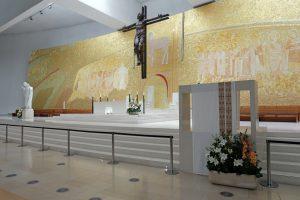 Fatima, Portugal - July 23, 2014: Altar of the new church of Santissima Trindade